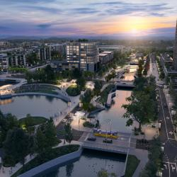 The new Maroochydore city centre featuring a network of city streets, waterways and parks.